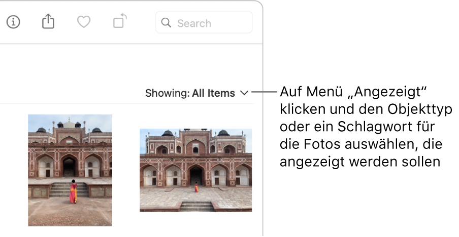 """Das Einblendmenü """"Anzeigen"""" mit der ausgewählten Option zum Anzeigen aller Objekte."""