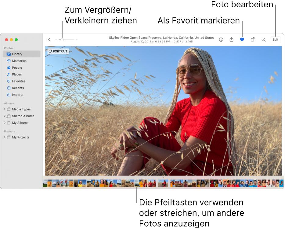 """Das Fenster """"Fotos"""" mit einem vergrößert dargestellten Foto rechts und einer Reihe von Miniaturen darunter. Die Symbolleiste oben umfasst den Zoomregler und die Tasten """"Favorit"""" und """"Bearbeiten""""."""