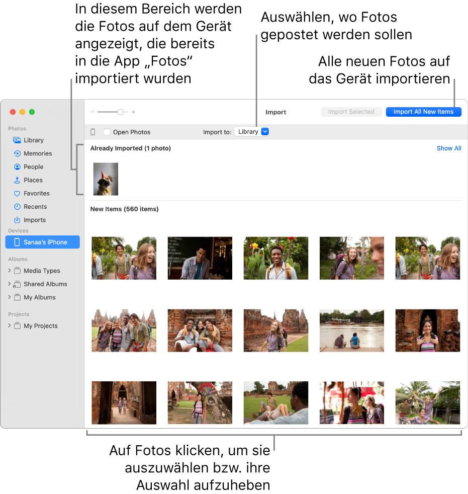 """Fotos auf dem gerät, die bereits importiert wurden, werden oben im Bereich angezeigt, neue Fotos werden unten angezeigt. Oben in der Mitte befindet sich das Einblendmenü """"Importieren nach"""". Die Taste """"Alle neuen Objekte importieren"""" befindet sich oben rechts."""