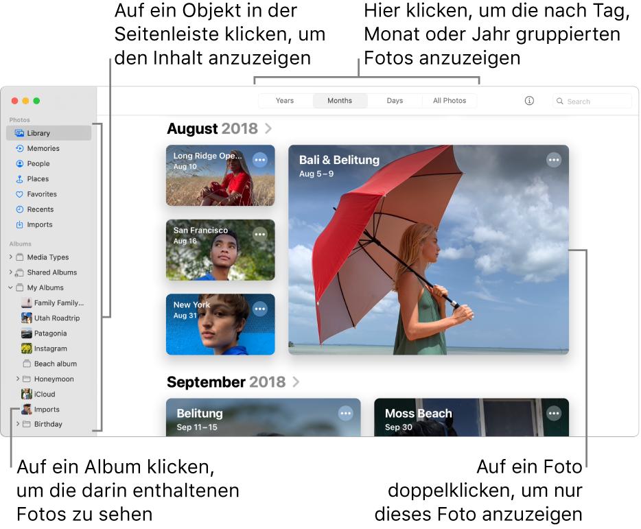 """Das Fenster """"Fotos"""" mit der in der Symbolleiste ausgewählten Option """"Monate""""; im Hauptbereich des Fensters werden die nach Monat sortierten Fotos angezeigt. Links befindet sich die Seitenleiste, wo Alben und Projekte ausgewählt werden können."""