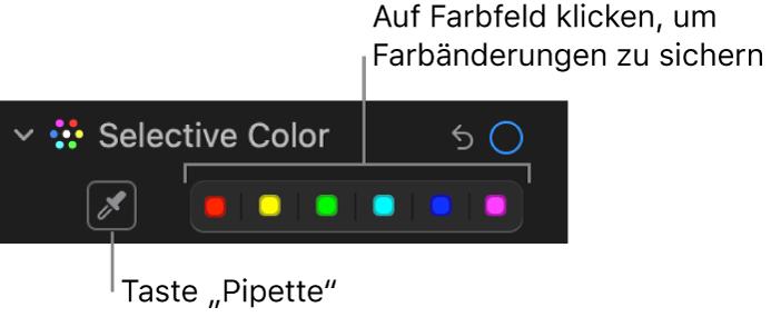 """Die Steuerungen """"Selektive Farbkorrektur"""" im Bereich """"Anpassen"""" mit der Taste """"Pipette"""" und den Farbfeldern."""