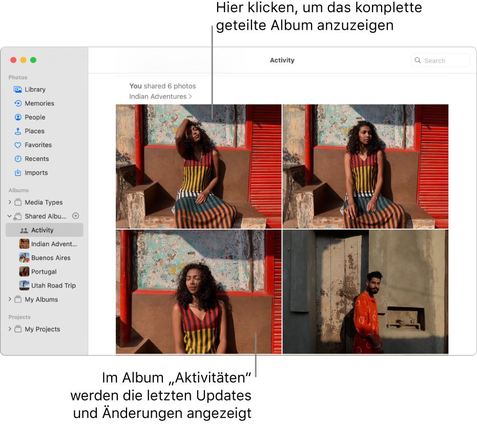 """Das Fenster """"Fotos"""" mit dem in der Seitenleiste ausgewählten Bereich """"Aktivität""""; rechts wird das Album """"Aktivität"""" angezeigt."""