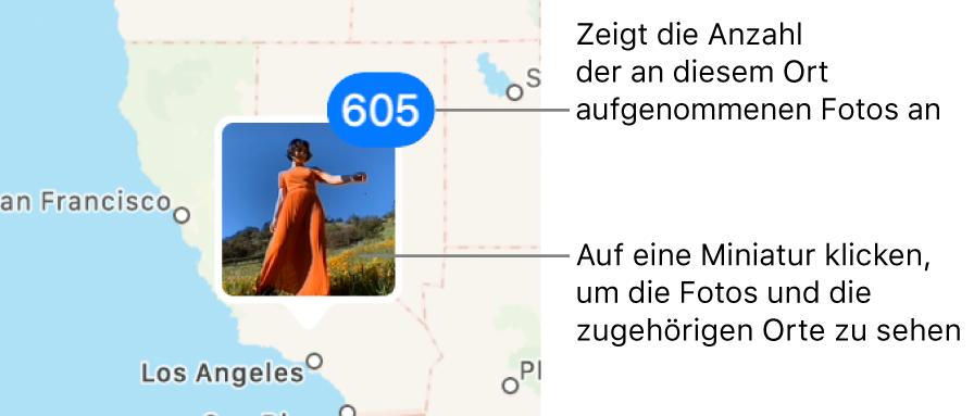 Eine Fotominiatur auf einer Karte mit einer Zahl rechts oben in der Ecke, die anzeigt, wie viele Fotos an diesem Standort aufgenommen wurden.