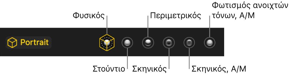 Επιλογές εφέ φωτισμού σε λειτουργία Πορτρέτου, συμπεριλαμβανομένων (από αριστερά προς τα δεξιά) των επιλογών «Φυσικός», «Στούντιο», «Περίγραμμα», «Σκηνικός», «Σκηνικός, Α/Μ» και «Φωτισμός ανοιχτών τόνων Α/Μ».