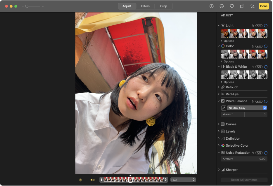 A photo in editing view showing the editing tools on the right.