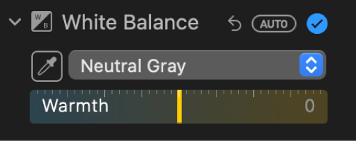 The White Balance controls in the Adjust pane.