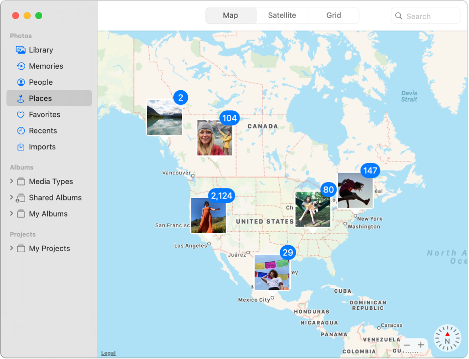 The Photos window showing a map with photo thumbnails grouped by location.
