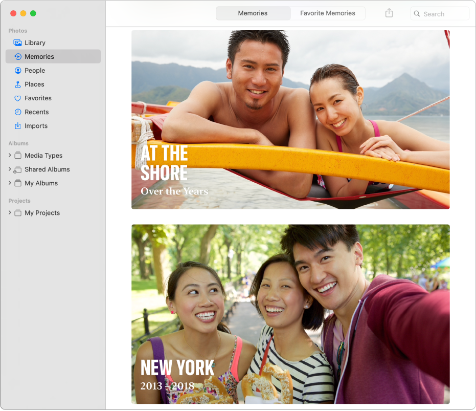 The Photos window showing Memories selected in the sidebar and two memories displayed on the right.