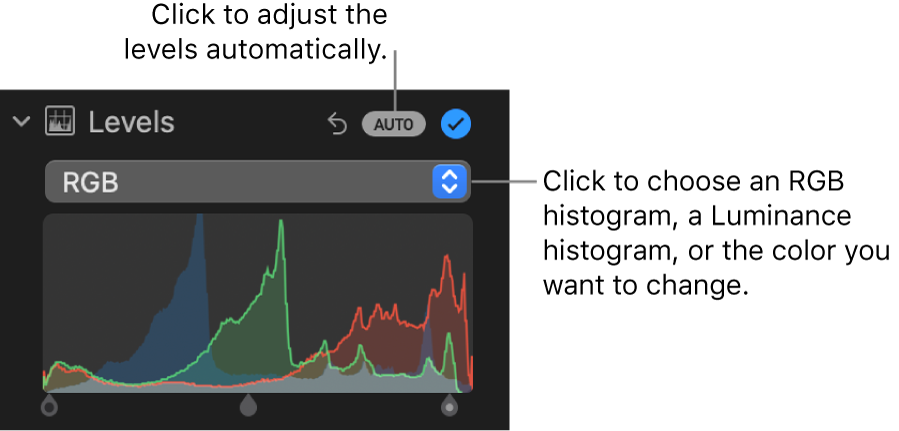 The Levels controls in the Adjust pane, with the Auto button at the top right and the RGB histogram below.