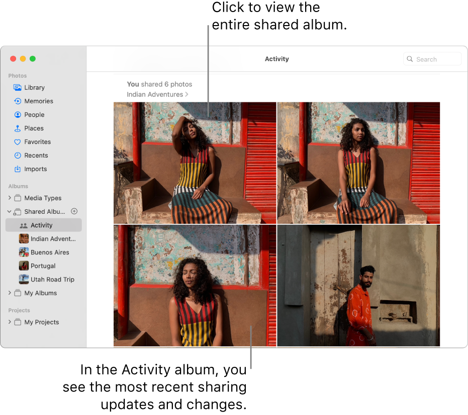 The Photos window with Activity selected in the sidebar and the Activity album displayed on the right.