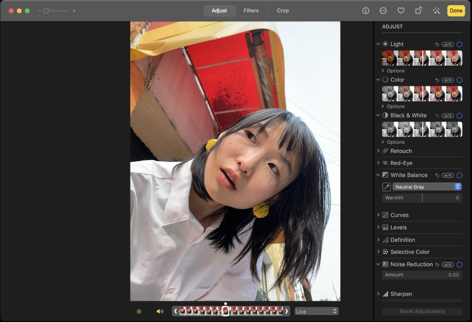 Una foto en la vista de edición mostrando las herramientas de edición a la derecha.