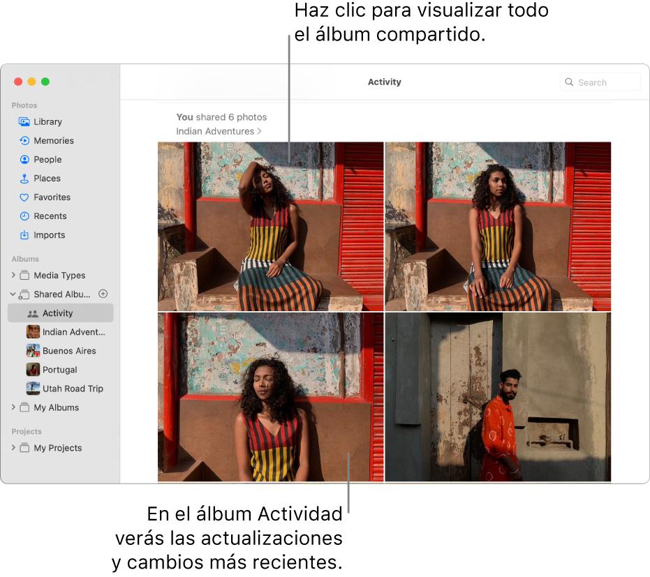 La ventana de Fotos con la opción Actividad seleccionada en la barra lateral y el álbum Actividad muestra a la derecha.