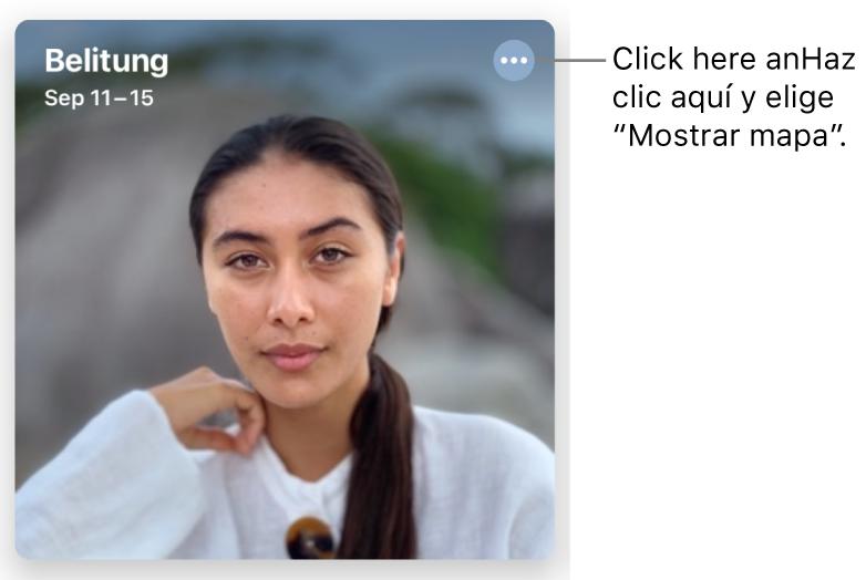 Una foto que representa las fotos tomadas en un día en particular, con información de ubicación en la esquina superior izquierda y un botón en la esquina superior derecha que ofrece más opciones, incluida la opción de mostrar un mapa.