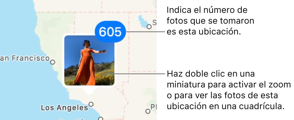 La miniatura de una foto en un mapa con un número en la esquina superior derecha que muestra el número de fotos tomadas en esa ubicación.