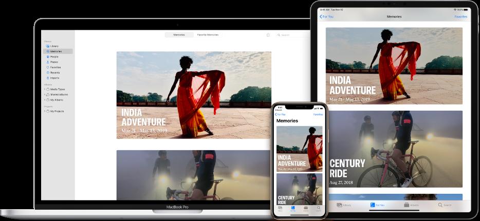 Un iPhone, un MacBook y un iPad con las mismas fotos en cada una de sus pantallas.