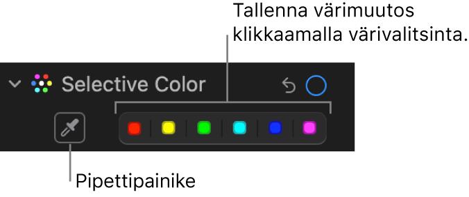 Säädöt-osion Valinnainen väri -säätimet, joissa pipettipainike ja värivalitsimet näkyvissä.