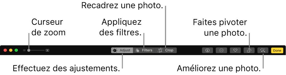 La barre d'outils de modification montrant un curseur de zoom et des boutons permettant de procéder à des ajustements, d'ajouter des filtres et de recadrer, faire pivoter et améliorer des photos.