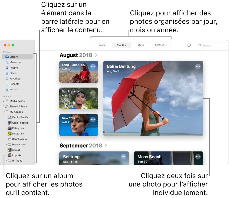 La fenêtre Photos avec Mois sélectionné dans la barre d'outils et des photos organisées par mois s'affichant dans la zone principale de la fenêtre. La barre latérale se trouve à gauche. Vous pouvez y sélectionner des albums et des projets.