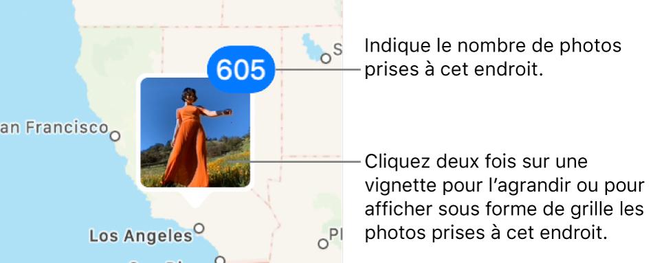 Une vignette de photo sur un plan, avec un numéro en haut à droite indiquant le nombre de photos prises à cet endroit.