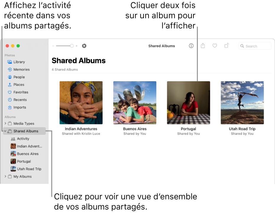 La fenêtre Photos montrant «Albums partagés» sélectionné dans la barre latérale et les albums partagés qui s'affichent à droite.