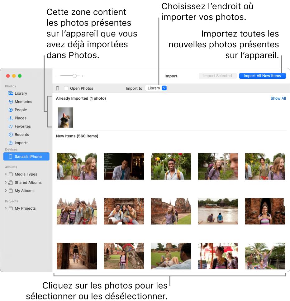 Les photos présentes sur l'appareil que vous avez déjà importées apparaissent en haut de la sous-fenêtre. Les nouvelles photos apparaissent en bas. En haut et au centre se trouve le menu local «Importer vers». Le bouton «Importer tous les nouveaux éléments» se trouve en haut à droite.