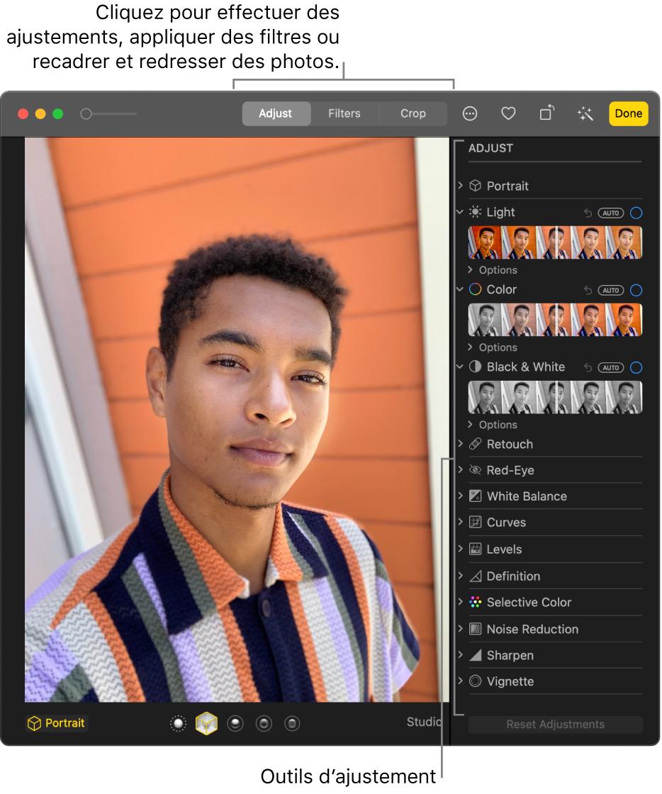 Une photo en mode édition, avec les outils d'édition dans la sous-fenêtre Ajuster à droite.