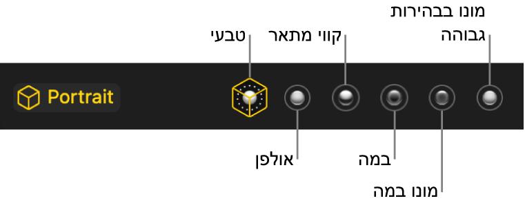 בחירות אפקטים של התאורה כולל (משמאל לימין) ״טבעי״, ״סטודיו״, ״מתאר״, ״במה״, ״במה מונו״ ו״מונו בבהירות גבוהה״.