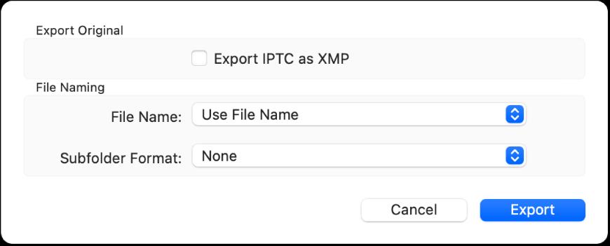 तस्वीर फ़ाइलों के उनके मूल फ़ॉर्मैट में ऐक्सपोर्ट करने के लिए विकल्पों को दिखाता एक डायलॉग।
