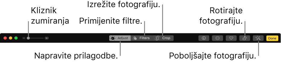 Alatna traka Uređivanje koja prikazuje kliznik Zoom i tipke za podešavanja, dodavanje filtara, izrezivanje fotografija, rotiranje fotografija i naglašavanje fotografija.