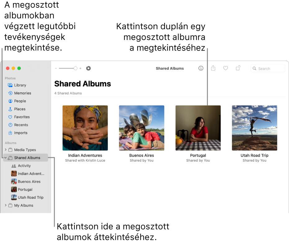 A Fotók ablaka az oldalsávon a kiválasztott Megosztott albumok elemmel, a jobb oldalon megosztott albumok látható.