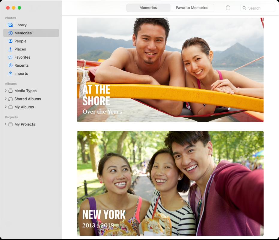 A Fotók ablaka az oldalsávon a kiválasztott Emlékekkel, a jobb oldalon két emlék látható.
