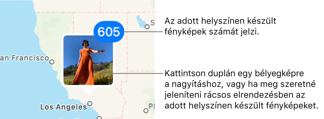 Fotó bélyegképe egy térképen; a jobb felső sarokban egy szám jelzi az adott helyen készített fotók számát.