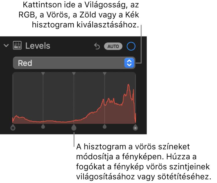 A Beállítás panel szintek vezérlői a Vörös-hisztogrammal és az alatta látható, a fotó vörös szintjeinek beállítására szolgáló fogókkal.