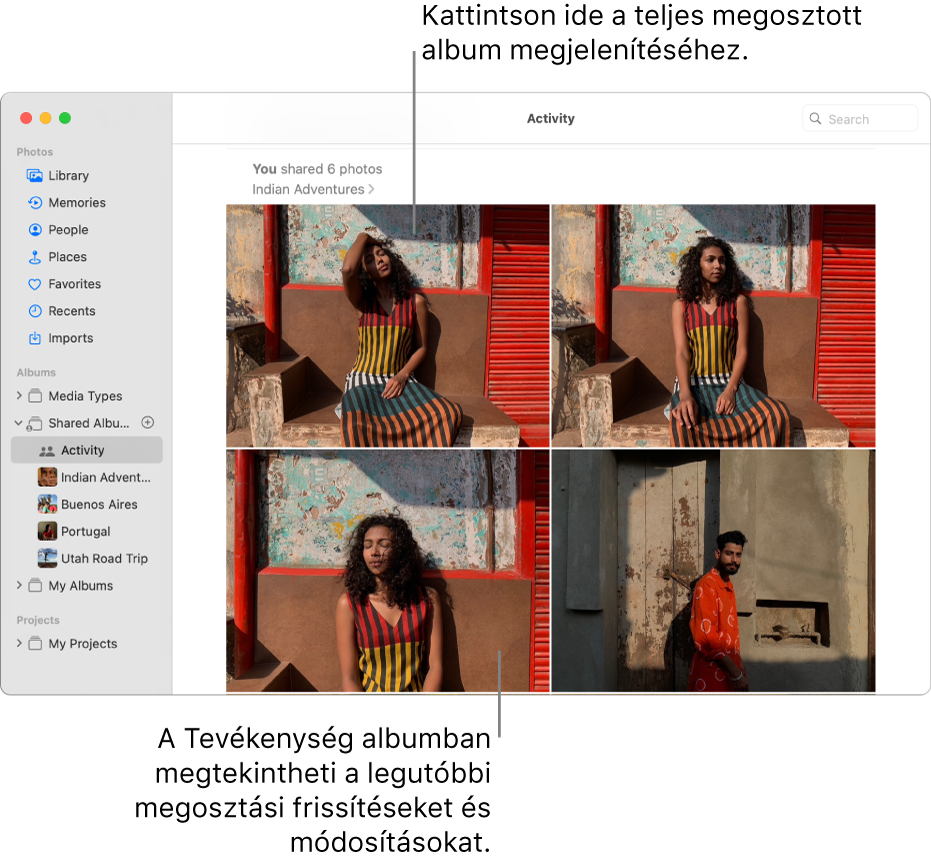 A Fotók ablaka az oldalsávon a kiválasztott Tevékenység elemmel; a jobb oldalon a Tevékenység album látható.