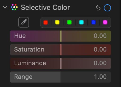 A Beállítás panel Szelektív szín vezérlői az Árnyalat, Telítettség, Világosság és Tartomány csúszkákkal.