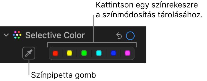 A Beállítás panel Szelektív szín vezérlői a Pipetta gombbal és színrekeszekkel.