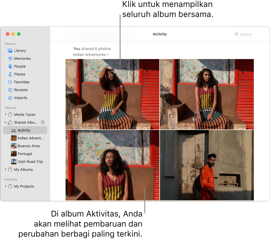 Jendela Foto dengan Aktivitas yang dipilih di bar samping dan album Aktivitas ditampilkan di sebelah kanan.