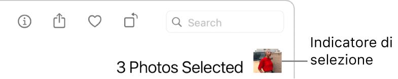 Un indicatore di selezione con tre foto selezionate.