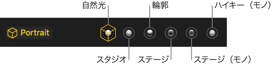 「ポートレート」モードの照明エフェクトの選択肢。(左から右へ)自然光、スタジオ、輪郭、ステージ、ステージ(モノ)、ハイキー(モノ)があります。