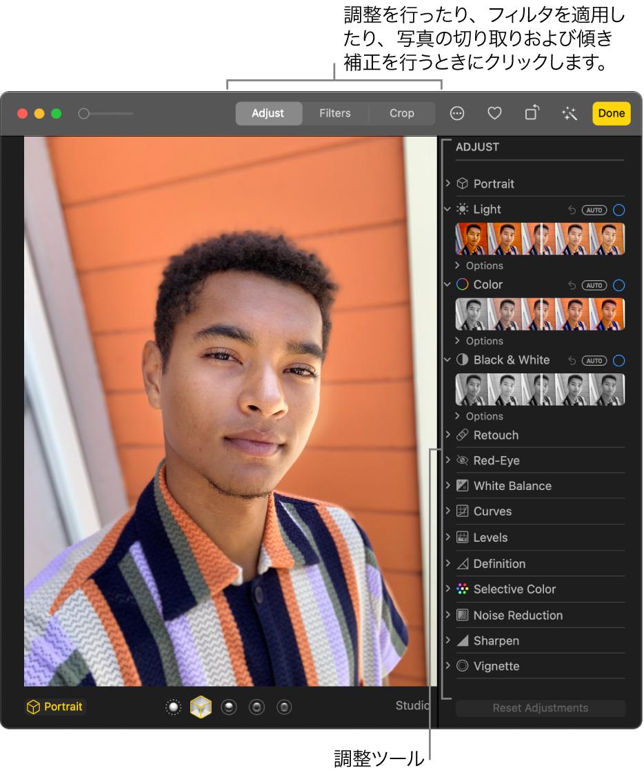 編集ビューの写真、右側に「調整」パネルの編集ツール。