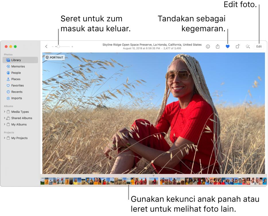 Tetingkap Foto menunjukkan foto dibesarkan di sebelah kanan dengan baris imej kecil di bawah. Bar alat di bahagian atas termasuk gelangsar Zum, butang Kegemaran dan butang Edit.