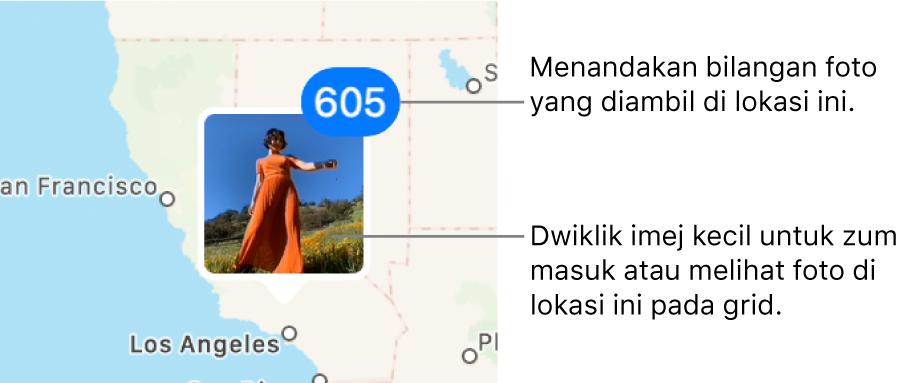 Imej kecil foto pada peta, dengan nombor di penjuru kanan atas yang menandakan bilangan foto yang diambil di lokasi itu.