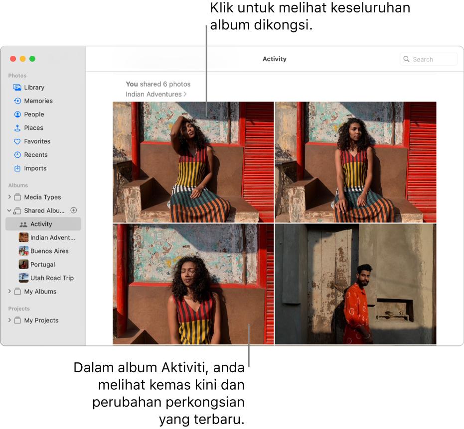 Tetingkap foto menunjukkan tetingkap dengan Aktiviti dipilih dalam bar sisi dan album Aktiviti dipaparkan di sebelah kanan.