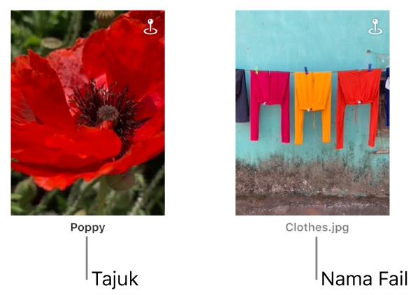 Dua foto, satu menunjukkan tajuk di bawahnya dan satu lagi menunjukkan nama fail di bawahnya.
