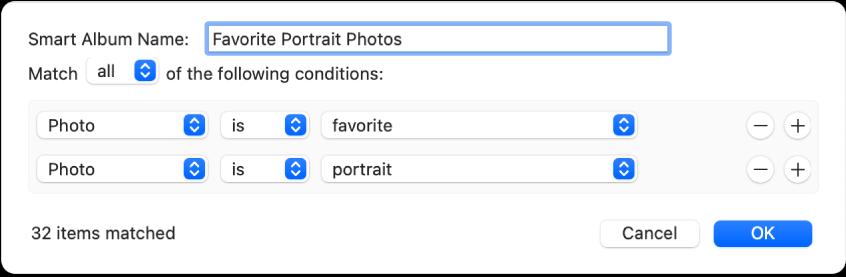 Een dialoogvenster met criteria voor een slim album met portretfoto's die als favoriet zijn gemarkeerd.