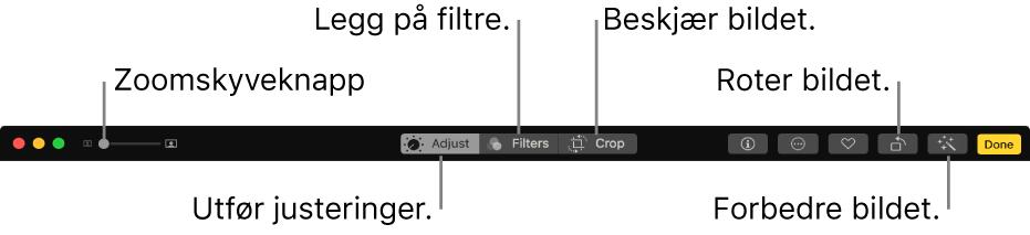 Rediger-verktøylinjen, som viser en Zoom-skyveknapp og knapper for å vise justeringer, legge til filtre og beskjære, rotere og forbedre bilder.