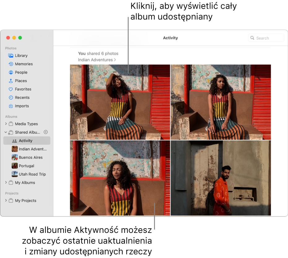 Okno aplikacji Zdjęcia zzaznaczoną etykietą Aktywność na pasku bocznym oraz albumem Aktywność wyświetlanym po prawej.
