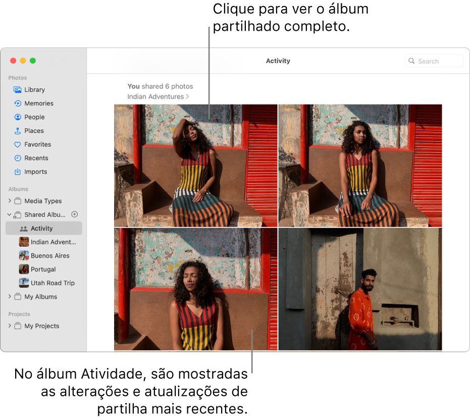 """A janela da aplicação Fotografias com a opção """"Atividade"""" selecionada na barra lateral e o álbum Atividade apresentado à direita."""
