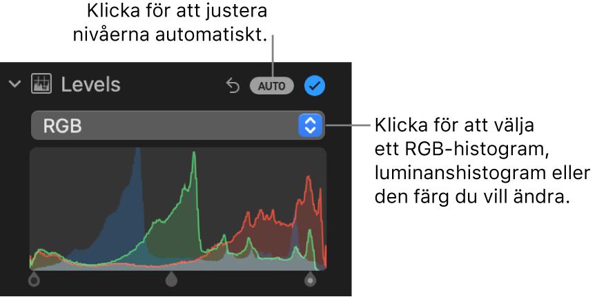Nivåreglagen på panelen Justera med Auto-knappen högst upp till höger och RGB-histogrammet nedanför.