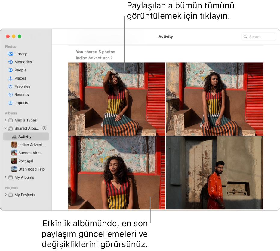 Kenar çubuğunda Etkinlik seçili ve sağda Etkinlik albümü görüntülenen Fotoğraflar penceresi.